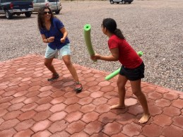 Pool noodle fight!